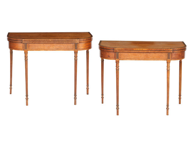 A Pair of George III satinwood crossbanded card tables (2)