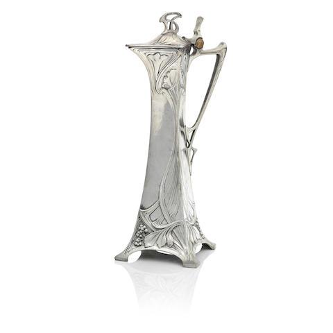 A German WMF Art Nouveau Continental pewter claret jug