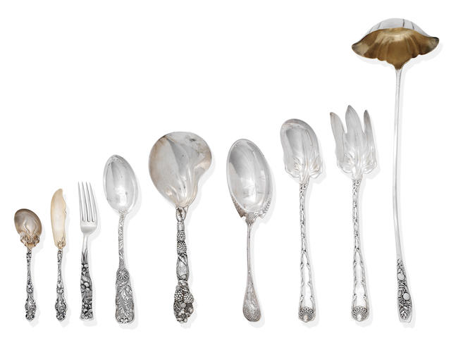 A large collection of American silver flatware various makers and dates to include Tiffany, Shreve & Co, etc