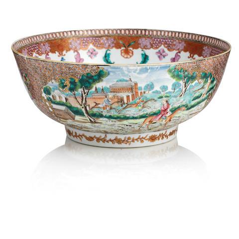 A famille rose European 'hunt scene' punch bowl 18th century