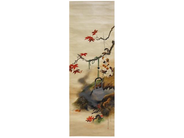 SHIBATA ZESHIN 柴田是真 (1807–1891) URUSHI-E (LACQUER PAINTING) OF MUSHROOM-GATHERING IN AUTUMN FIELDS 秋野辺茸図漆絵掛軸 Meiji era (1868–1912), circa 1884