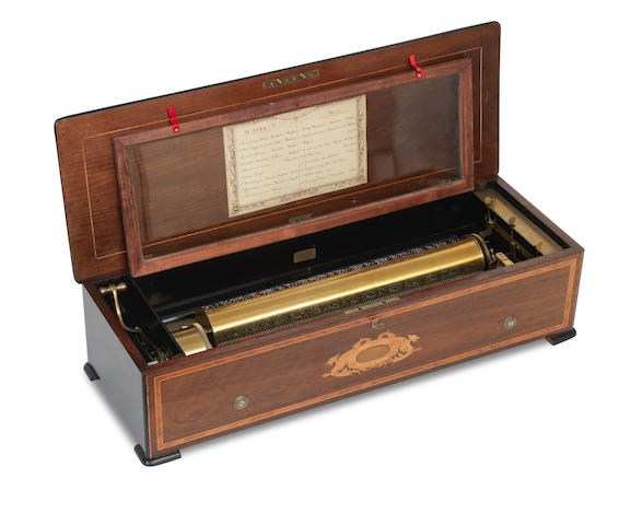A large 19th century walnut and Marquetry inlaid cylinder music box Stamped Nicole Freres, No. 44349