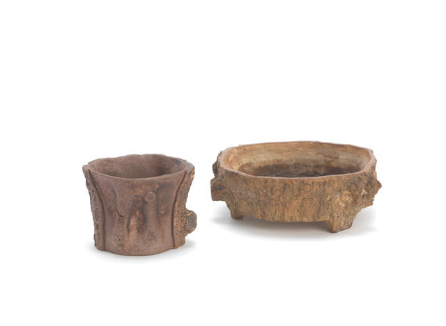 An Yixing tree trunk-form vessel; together with an yixing washer Qing Dynasty (3)