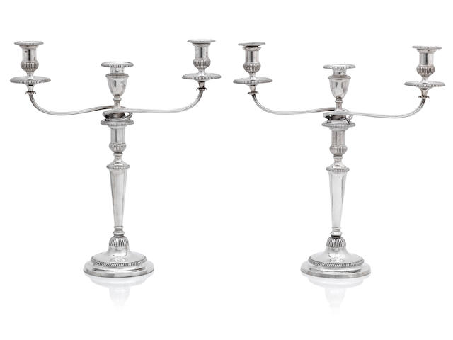 A pair of George III silver three-light candelabra  by Matthew Boulton, Birmingham 1802