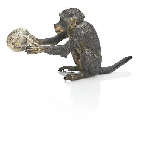 After Franz Bergman (Austrian, 1861-1936)  Monkey Holding a Skull