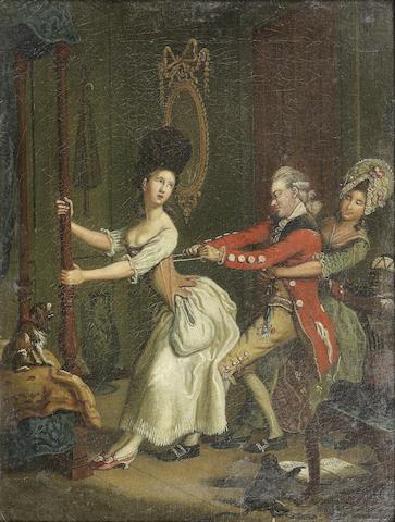 John Collet (London 1725-1780) Tight lacing, or, Fashion before ease; and The Triple Plea  (2)