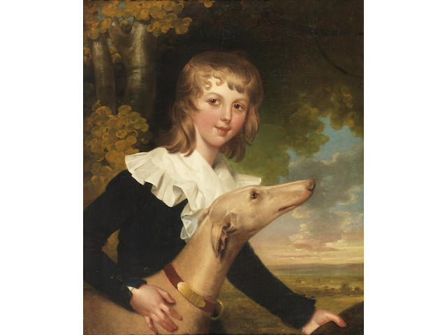 John Downman A.R.A (Denbighshire 1750-1824 Wrexham) Portrait of Master Twisden, three-quarter-length, in a blue coat, with a white collar, beside a whippet, holding a hat, in a landscape