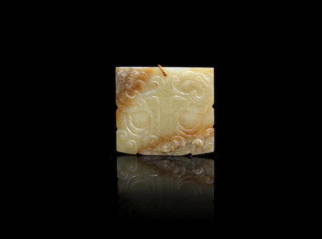 An archaic style jade 'Taotie' pendant Qing Dynasty