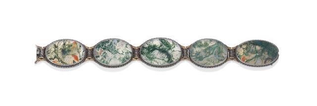 A moss agate bracelet, by Mario Buccellati,