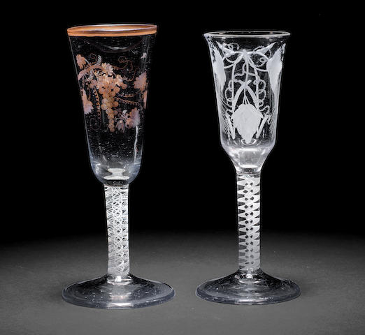 A gilt opaque twist wine flute and an ale glass, circa 1765