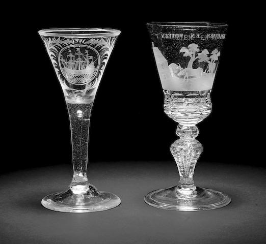 A Dutch engraved Saxon glass goblet and a wine glass, second quarter 18th century