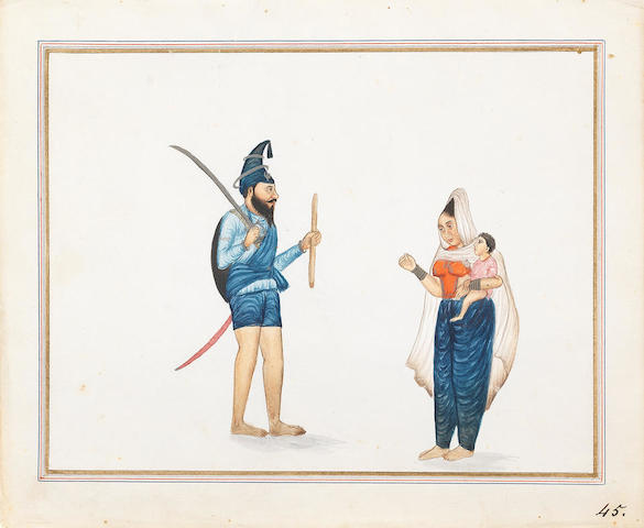 A Sikh akali-Nihang with his wife and child Punjab, probably Lahore, circa 1840