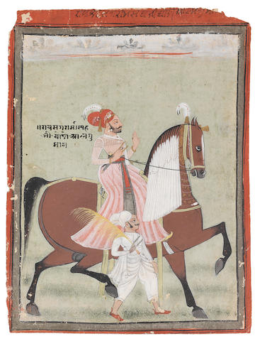 A prince on horseback, accompanied by an attendant on foot holding a flywhisk Rajasthan, perhaps Marwar, late 18th/early 19th Century(2)