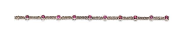 A garnet line bracelet, by Mario Buccellati,