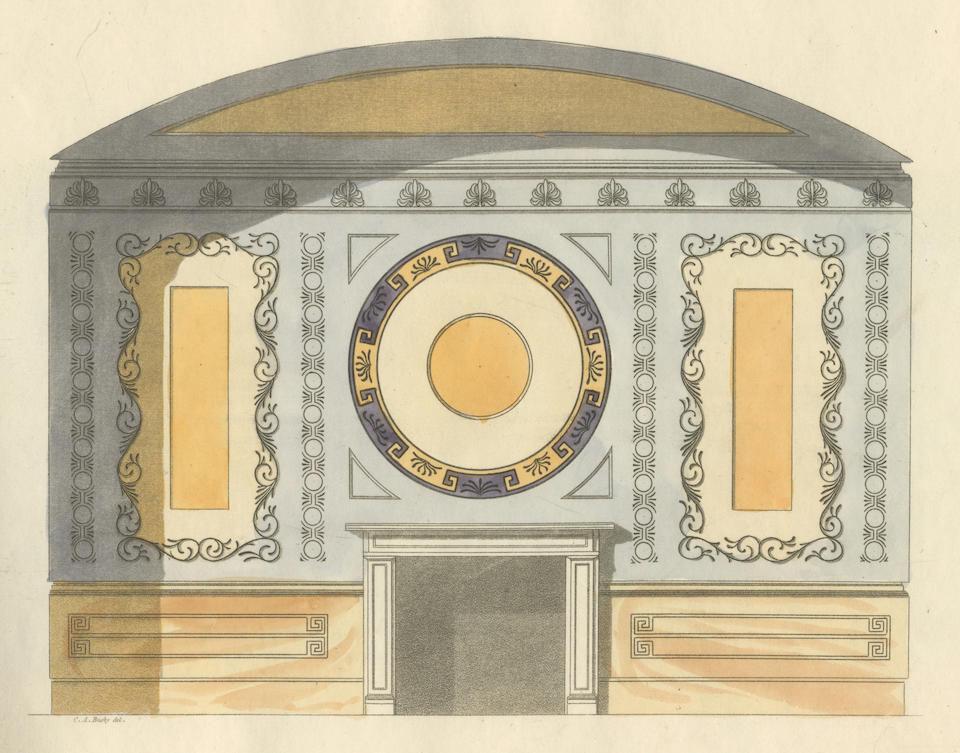 """ARCHITECTURE BUSBY (CHARLES AUGUSTIN) A Collection of Designs for Modern Embellishments Suitable to Parlours, Dining & Drawing Rooms, Folding Doors, Chimney Pieces, Varandas, Frizes, &c., Edward Lumley, n.d. [watermarked """"J. Whatman, 1833""""]"""