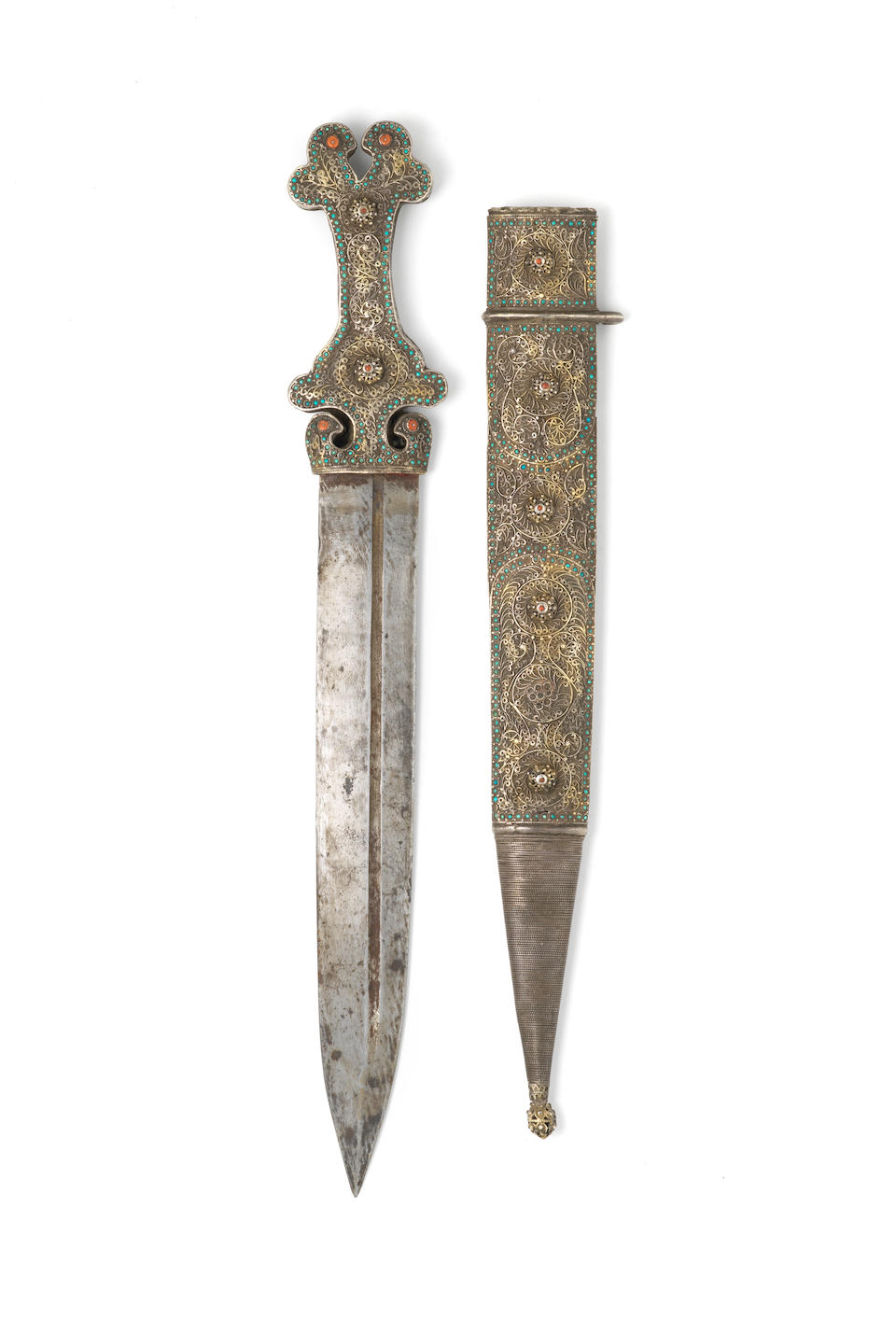A silver and coral mounted steel dagger (kindjal) Caucasus, 19th Century