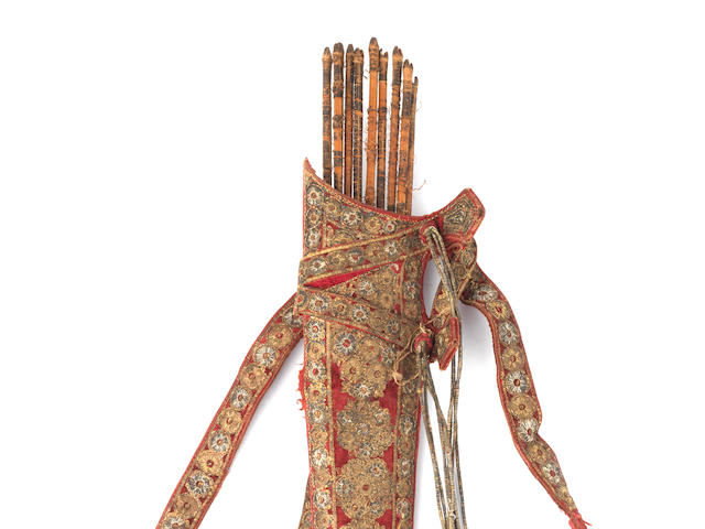 A silver-thread embroidered velvet-clad leather quiver North India, probably Lahore, early 19th Century(11)