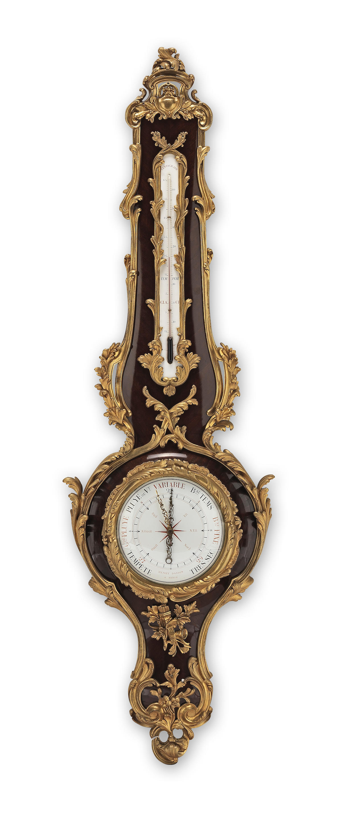 A French late 19th century mahogany and gilt bronze mounted barometer and...