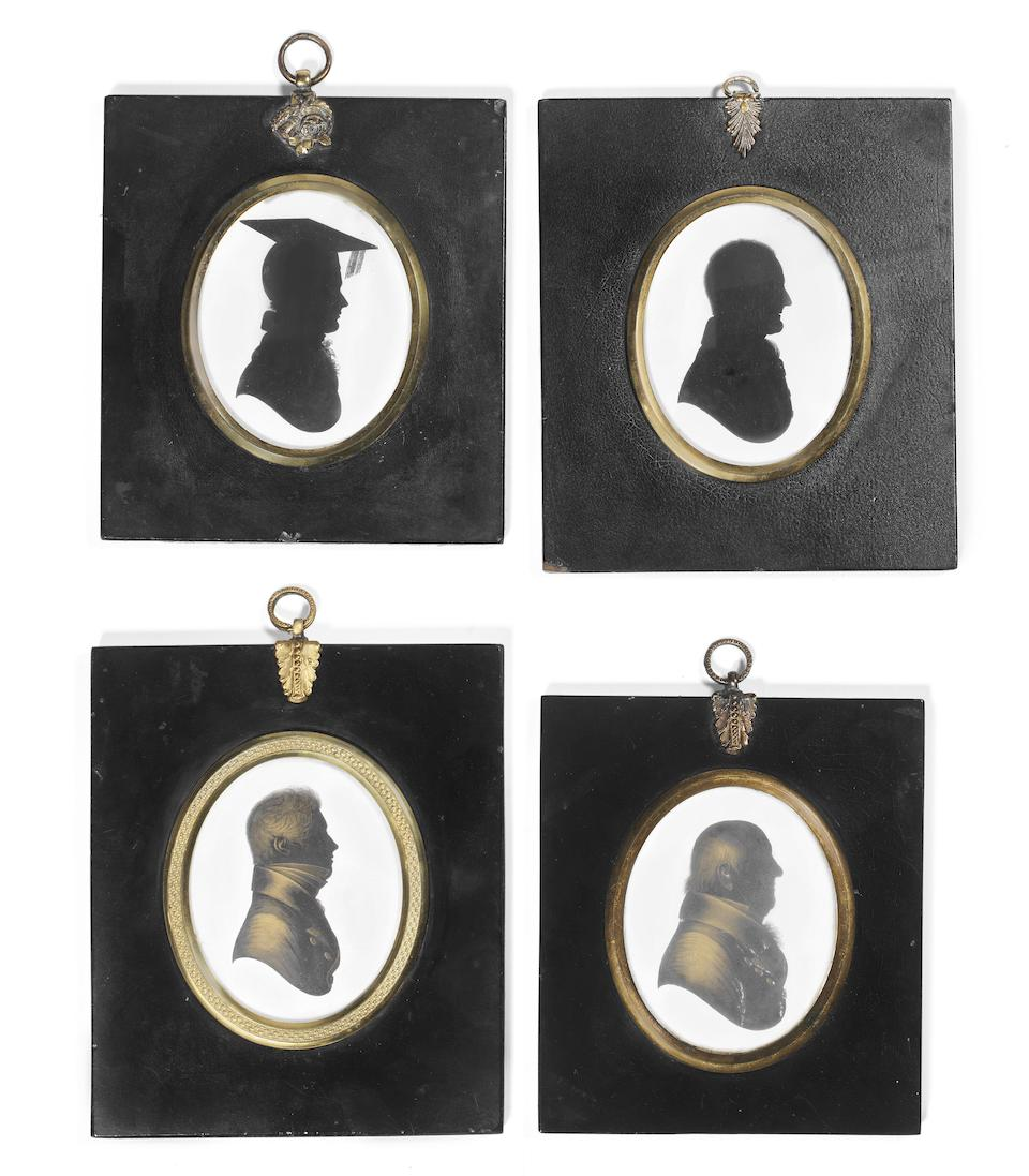 Nine late 18th/early 19th century Oval bust profile portraits of gentlemen on plaster including examples by John Miers (1771-1841), John Field (1756-1821) and Mary Lightfoot (1750-1837)   (9)