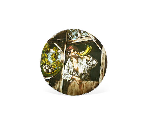 An enamelled stained glass roundel of a horn player possibly Flemish with etched mark: 'F. Struys Anvers'