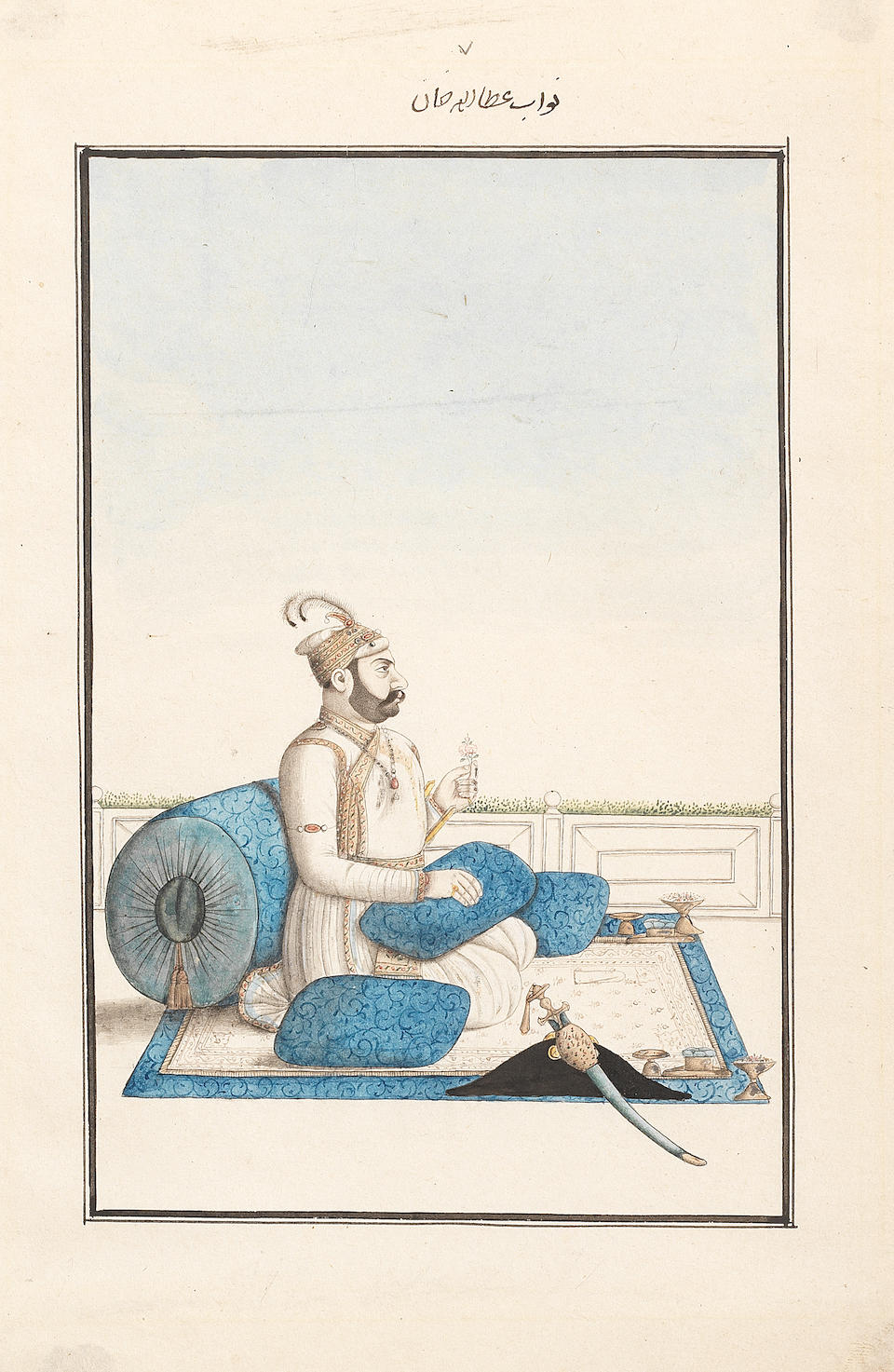 Five portraits of Nawabs and zamindars of Oudh seated on terraces Oudh, Murshidabad, late 18th Century(5)