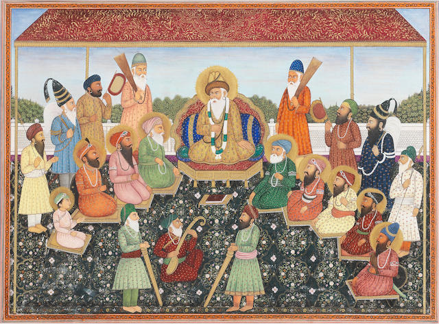The ten Sikh Gurus, Guru Nanak enthroned in the centre, accompanied by Bala and Mardana and other attendants, including two akalis North India, 20th Century