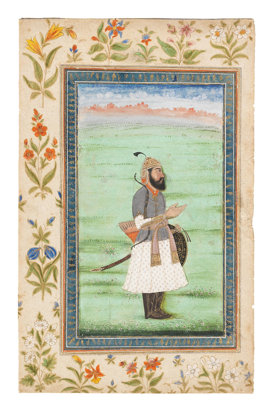 Maharajah Kharak Singh, armed with sword, shield, bow and quiver, standing in a landscape North India, circa 1840