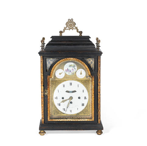 A late 18th century Austrian ebonised and parcel gilt quarter chiming bracket clock with repeat the dial signed Johann Baptist Körner, Wien