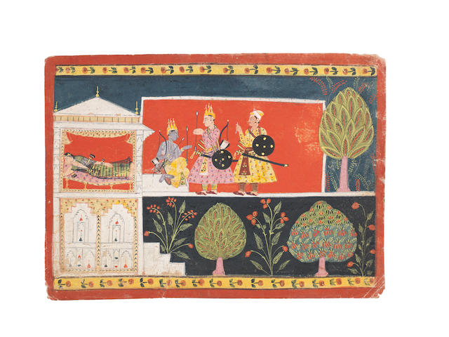 An illustration from the Ramayana: Rama and Lakshmana outside a forest pavilion where Sita lies asleep Malwa, circa 1650