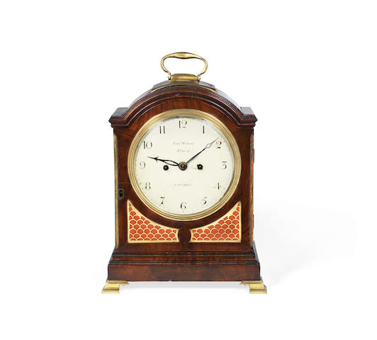 A early 19th century brass mounted mahogany table clock the dial signed Geo. Youge, Strand, London