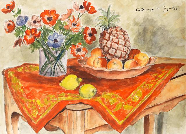 ANDRÉ DUNOYER DE SEGONZAC (1884-1974) Nature morte avec un ananas (Executed circa 1925)