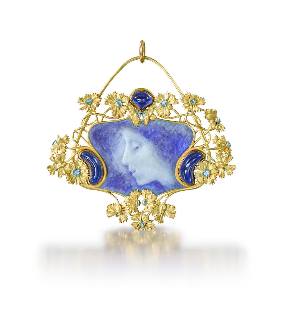 A gold and enamel pendant,                                                                                            by Lalique,