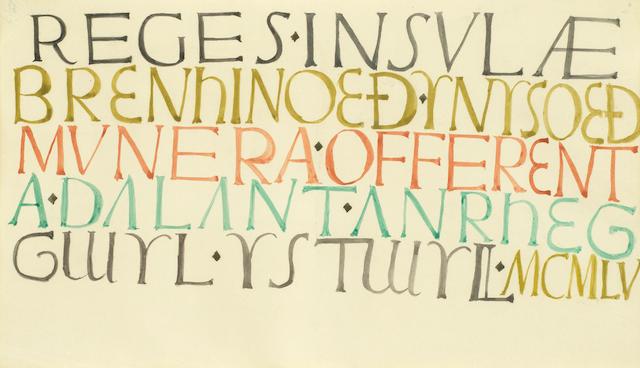 David Jones C.H., C.B.E. (British, 1895-1974) Reges Insulae Brenhinoed (Painted in 1955)