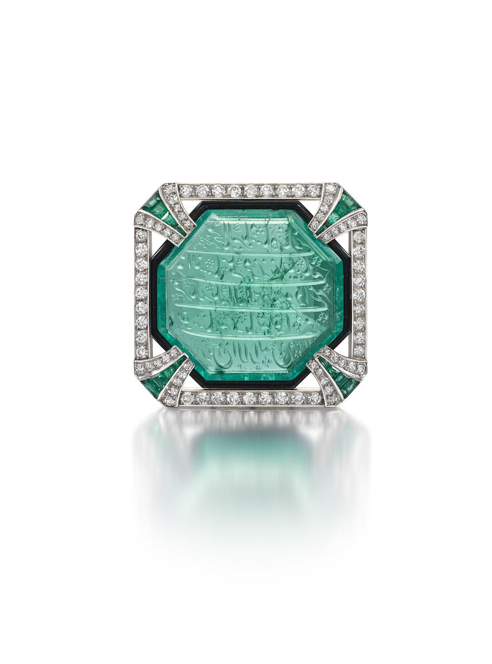 An Art Deco emerald, diamond and enamel brooch, by Hennell, circa 1925,