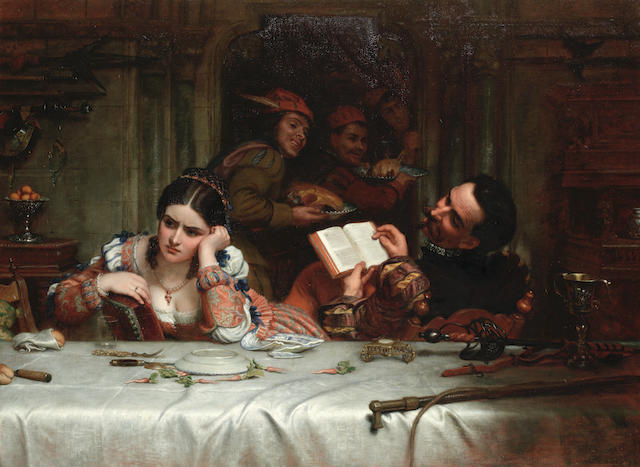 "Charles West Cope (British, 1811-1890) 'Taming the Shrew': ""The meat was well, if you were so contented"""
