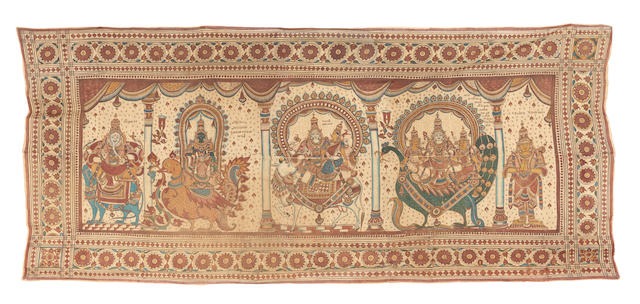 A mordant dyed cotton temple hanging South India, late 19th Century