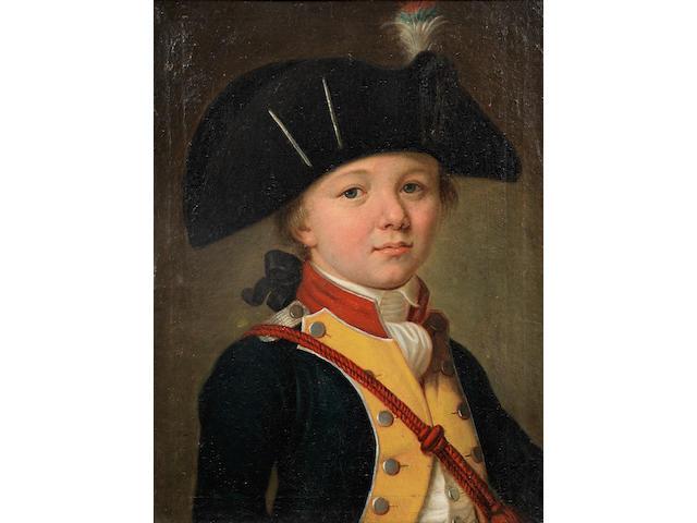 Attributed to Johann Friedrich August Tischbein (Maastricht 1750-1812 Heidelberg) Portrait of a boy, half-length, in military costume