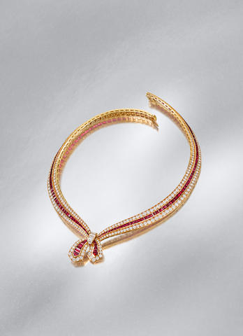 A ruby and diamond 'Bellegarde' necklace, by Van Cleef & Arpels,