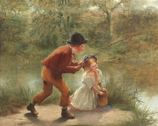 William Hemsley (British, 1819-1893) 'The enthusiastic angler'