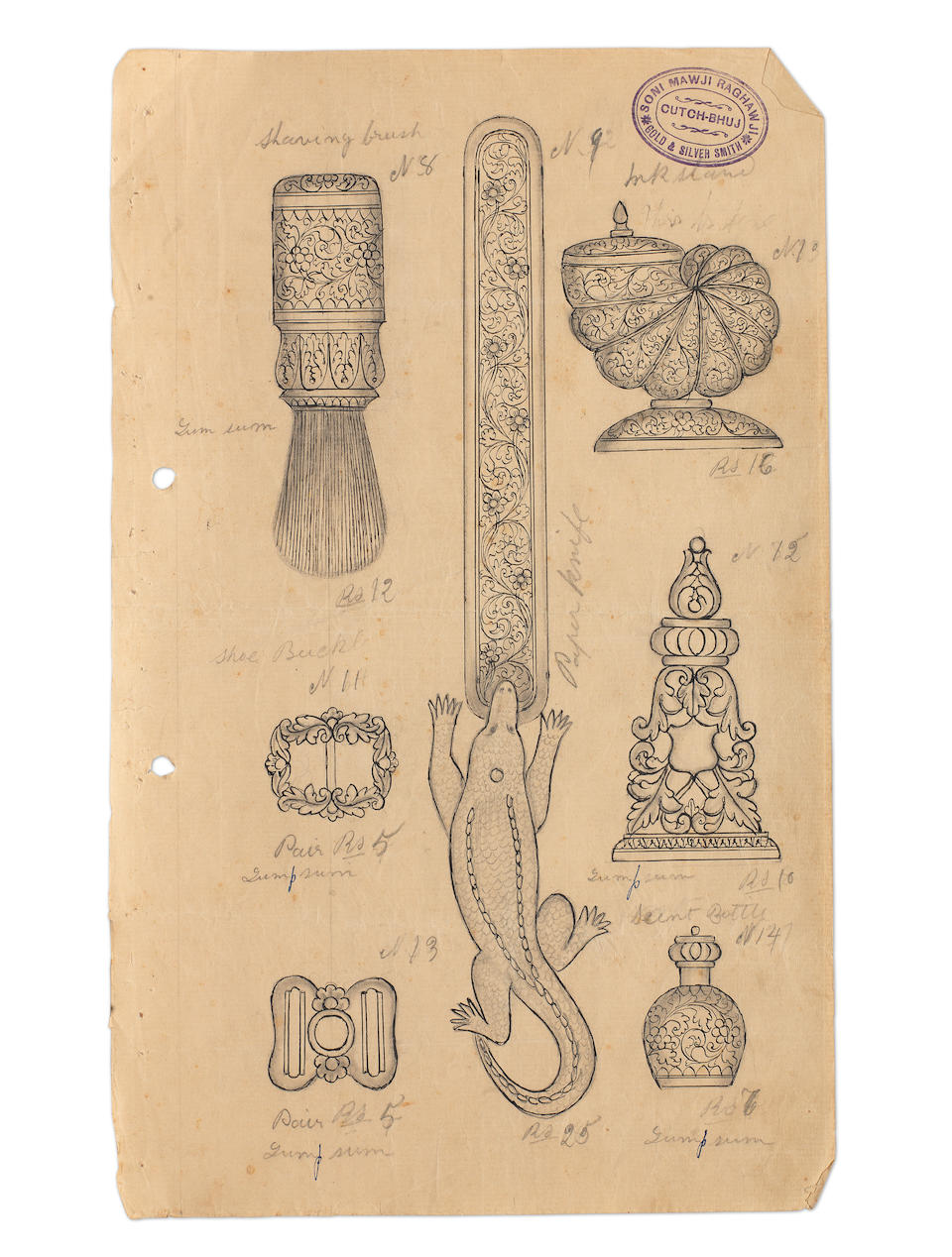 A group of designs and sketches by the workshop of Raghavji Mawji Bhuj, late 19th Century