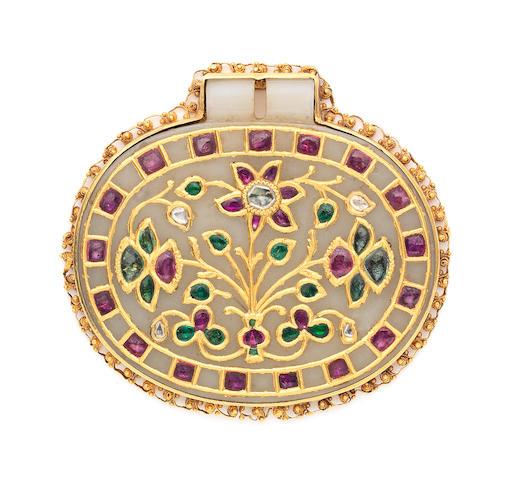 A Mughal gem-set jade talismanic plaque North India, the plaque dated AH 1051 / AD 1641-42, the gem-set decoration 19th Century