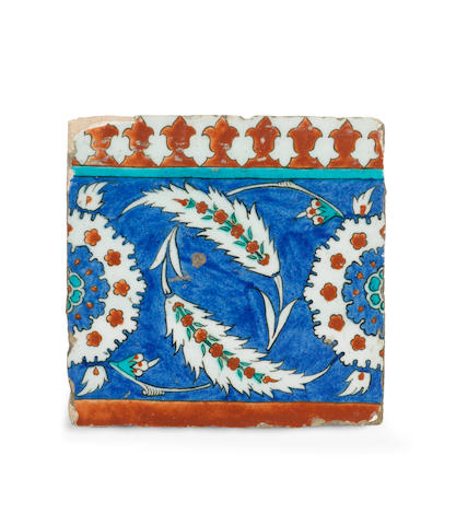 An Iznik pottery tile Turkey, circa 1575-80