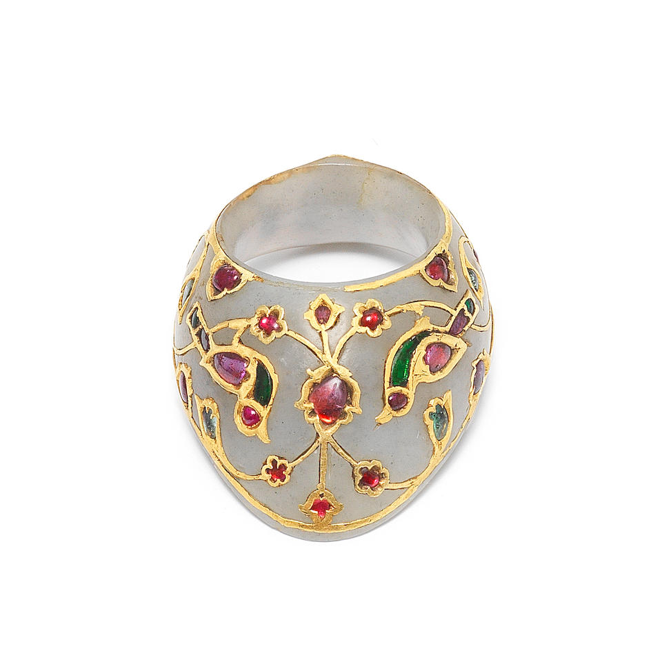 A Fine Mughal gem-set jade archer's ring North India, 17th Century