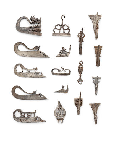 A collection of steel flint-strikers and belt hooks Persia, 15th-19th Century(17)