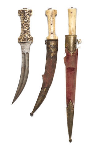 Three walrus ivory-hilted steel daggers North India and Persia, 19th Century(3)
