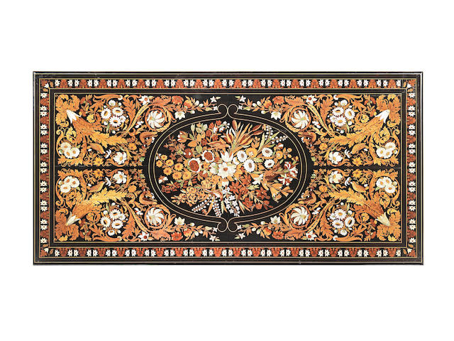 A Fine Florentine mid-19th century ebony, fruitwood, mother of pearl and ivory floral marquetry centre table Attributed to Luigi and Angelo Falcini