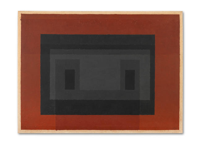 Josef Albers (American, 1888-1976) Untitled Variant/Adobe (Grey, Black, Red) 1947