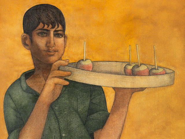 Louay Kayyali (Syria, 1934-1978) A Boy with a tray of Apples