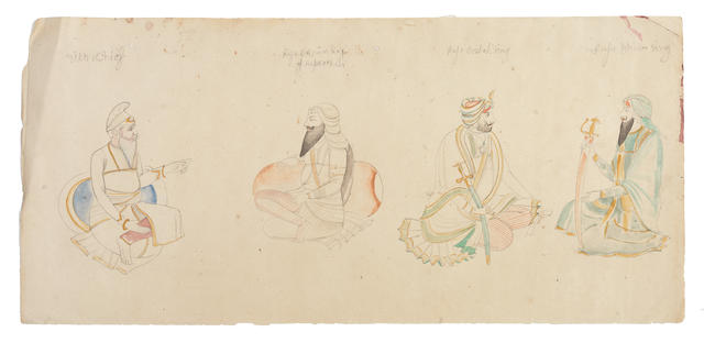 Four studies of Sikh princes: Rajah Ghulab Singh, Rajah Dhian Singh, Rajah Bikram Singh of Kapurthala, and a Sikh Chief (perhaps Labh Singh) Punjab,  late 19th/ early 20th Century