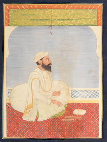 Dina Nath, minister to Maharajah Ranjit Singh, seated on a terrace North India, 20th Century